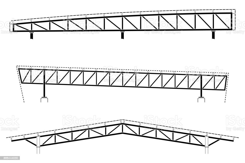 Roofing Building Steel Frame Detail Roof Truss Set Vector ...