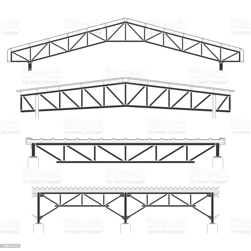 Roofing Buildingsteel Frame Cover Roof Truss Set Vector Illustration ...