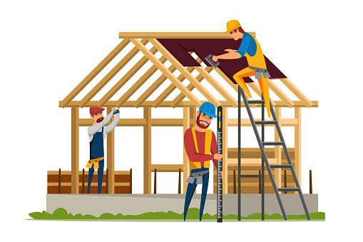 Roofing construction flat vector illustration