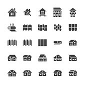 Roofing flat glyph icons. House construction, roof sheathing varieties, tile, chimney, insulation architecture illustrations. Signs for repair service. Solid silhouette pixel perfect 48x48