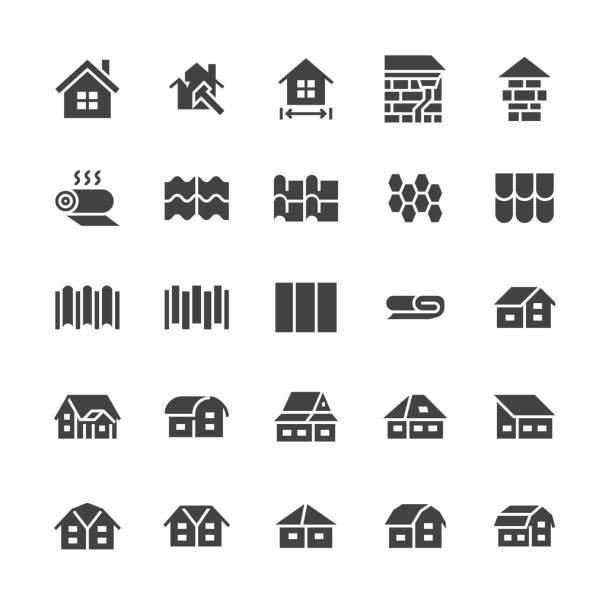 überdachung flache glyphe symbole. haus, bau, dach ummantelung sorten, kachel, kamin, isolierung architektur-illustrationen. anzeichen für reparatur-service. solide silhouette pixel perfekt 48 x 48 - dachboden stock-grafiken, -clipart, -cartoons und -symbole