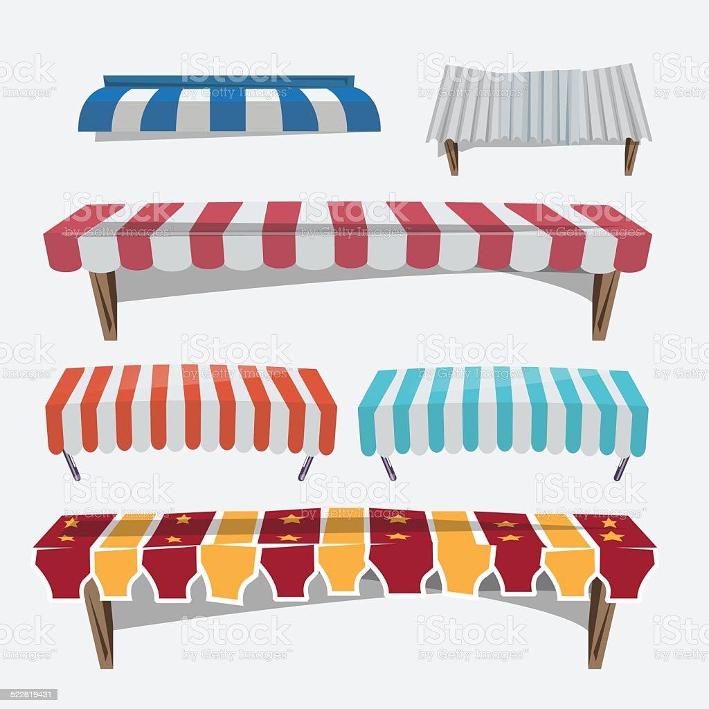 roofing. striped awnings. galvanized iron - vector illustration vector art illustration