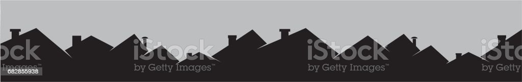 Roofs and smokestackes, cityscape vector art illustration
