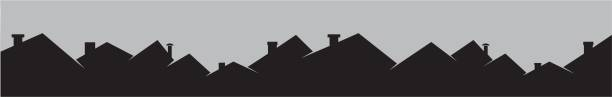 Roofs and smokestackes, cityscape Roofs and smokestackes, cityscape. Black silhouette. Vector icon. Background. community silhouettes stock illustrations