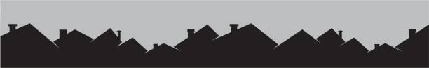 dächer und smokestackes, stadtansicht - kamin stock-grafiken, -clipart, -cartoons und -symbole