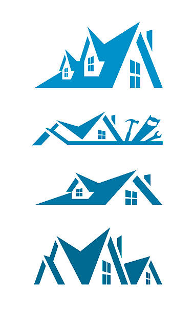 rooftop icons for logo design - architecture clipart stock illustrations