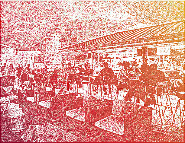 Rooftop Patio Bar Etching illustration of urban rooftop patio bar and restaurant on a Friday night. champaign illinois stock illustrations
