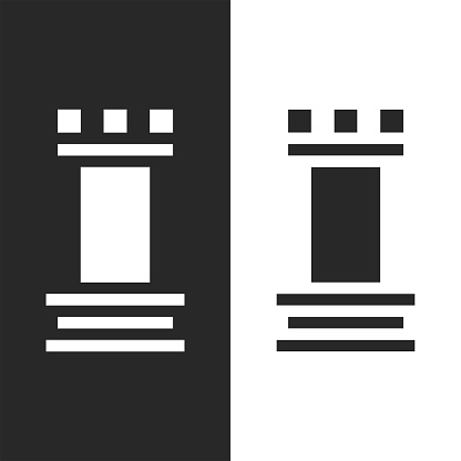 Rook chess piece, fortress tower logo abstract black and white symbol in minimal style.