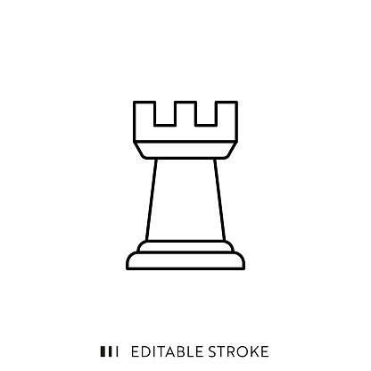 Rook Icon with Editable Stroke and Pixel Perfect.