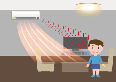 room air conditioner and motion sensing, energy saving, vector illustration