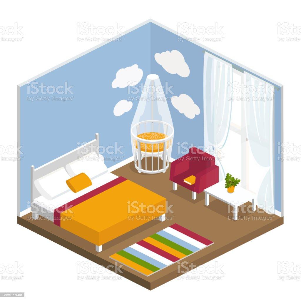 Sala Dormitorio Con Una Cama Grande Para Los Adultos Y Una Cuna Un ...