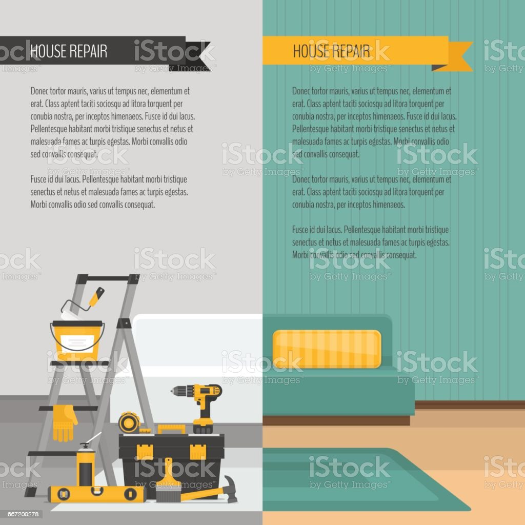 Room before and after repair. Home interior renovation. Flat style, vector illustration. vector art illustration