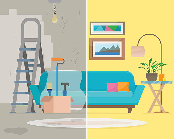 Room before and after repair. Room before and after repair. Home interior renovation. Flat style vector illustration. diy stock illustrations