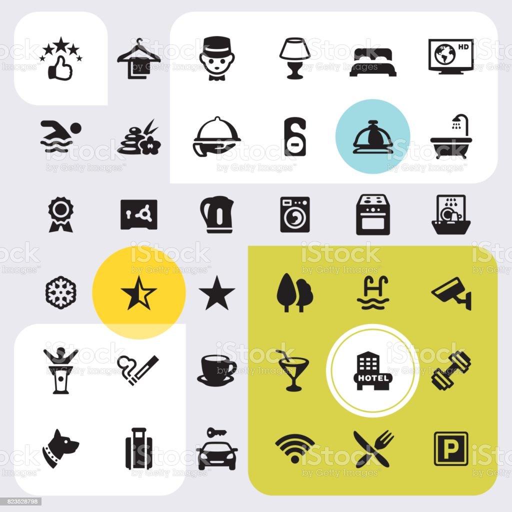 Room Facilities - icon set vector art illustration