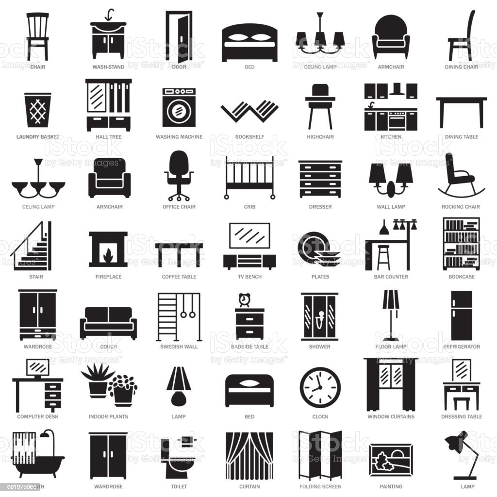 Room furniture silhouette icons set vector art illustration