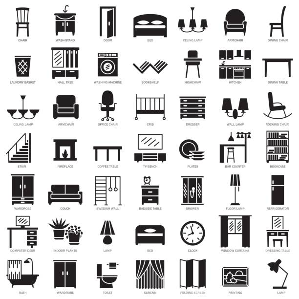 Room furniture silhouette icons set Room modern interior indoor furniture silhouette icons set illustration bedroom silhouettes stock illustrations