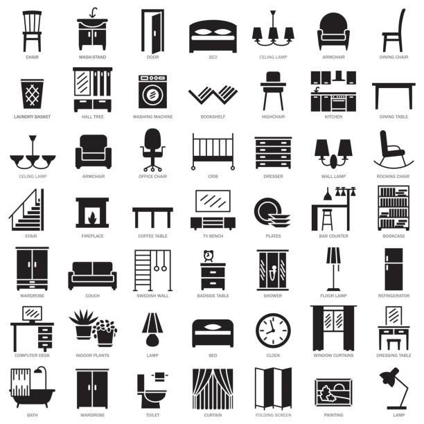 Ensemble d'icônes de silhouette de meubles de chambre - Illustration vectorielle
