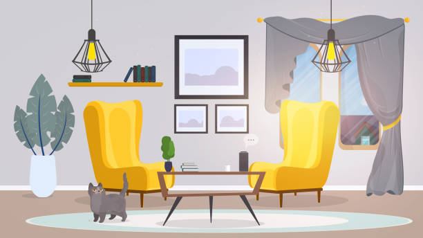 ilustrações, clipart, desenhos animados e ícones de quarto no estilo loft. vetor. poltronas amarelas, uma mesa com livros, gato, pinturas, tapete, planta. interior estilo loft moderno, bom para design de banner ou animação. - salas de aula