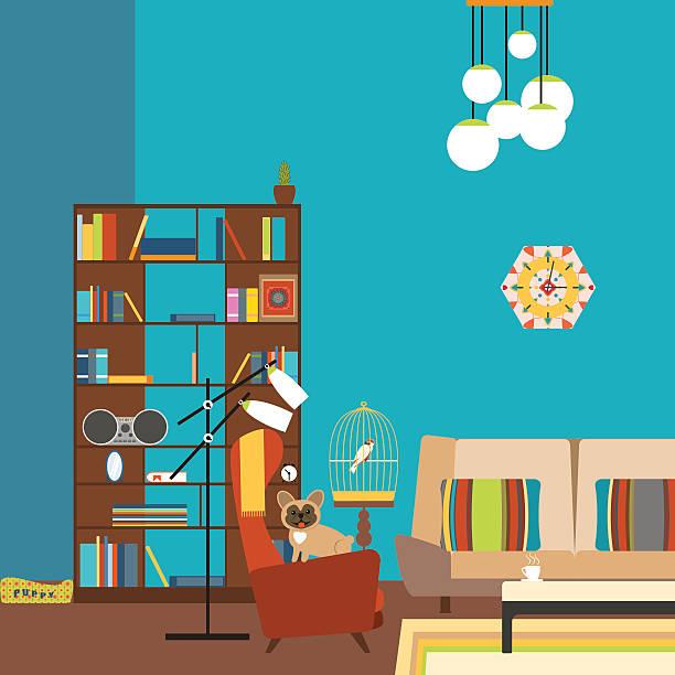 room in the style of 70s with bookcase. - schrankkorb stock-grafiken, -clipart, -cartoons und -symbole