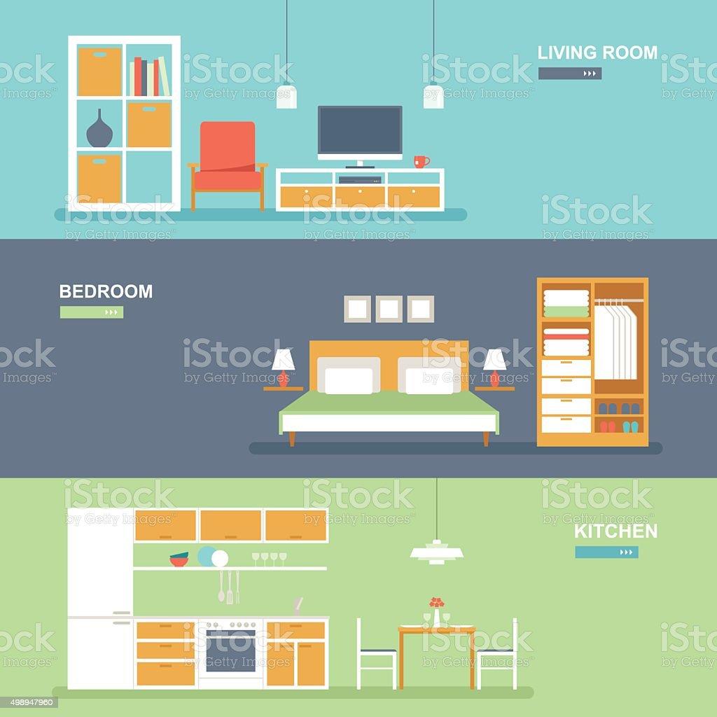 Intérieur de la chambre et meubles ensemble de bannière - Illustration vectorielle