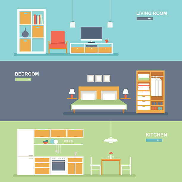 Room interior and furniture banner set Set of vector room type furniture interior design banners featuring living room, bedroom and kitchen in modern flat style. Easy to edit, elements are grouped and in separate layers. domestic kitchen stock illustrations