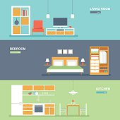 Room interior and furniture banner set
