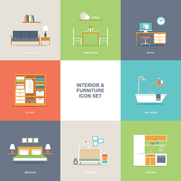 Room interior and furniture icon set Set of colorful vector interior room type icons in modern flat design featuring living room, bedroom, kitchen, bathroom, dining room, home office and nursery. bedroom stock illustrations