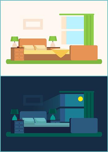 Room Interior Bedroom Set Vector Illustration