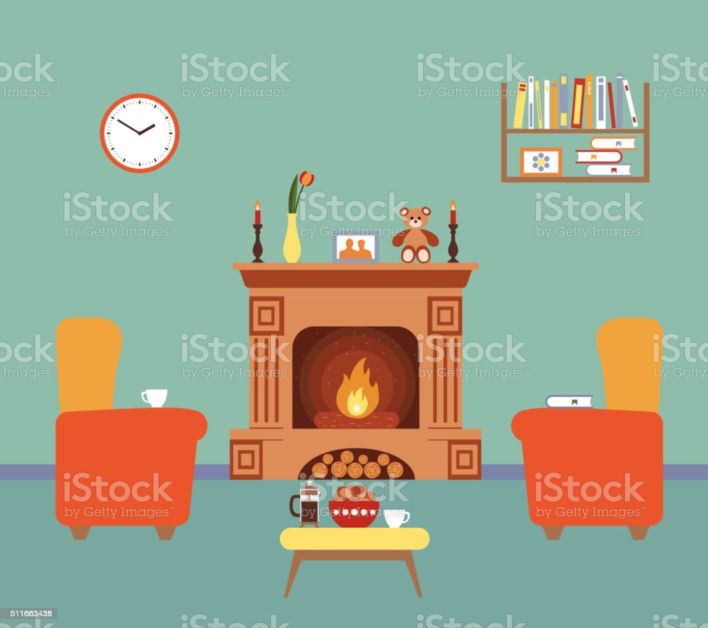 family room clipart. room interior design with fireplace vector art illustration family clipart y