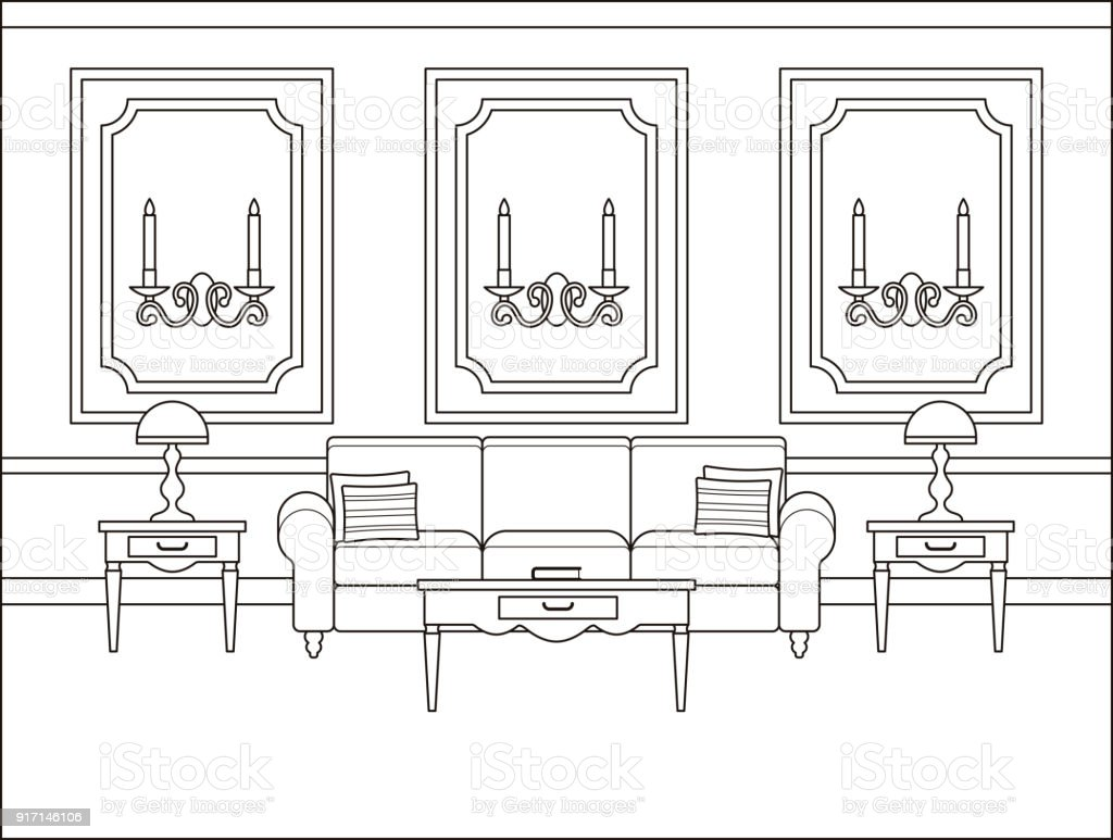 Room Interior In Flat Design Outline Vector Illustration