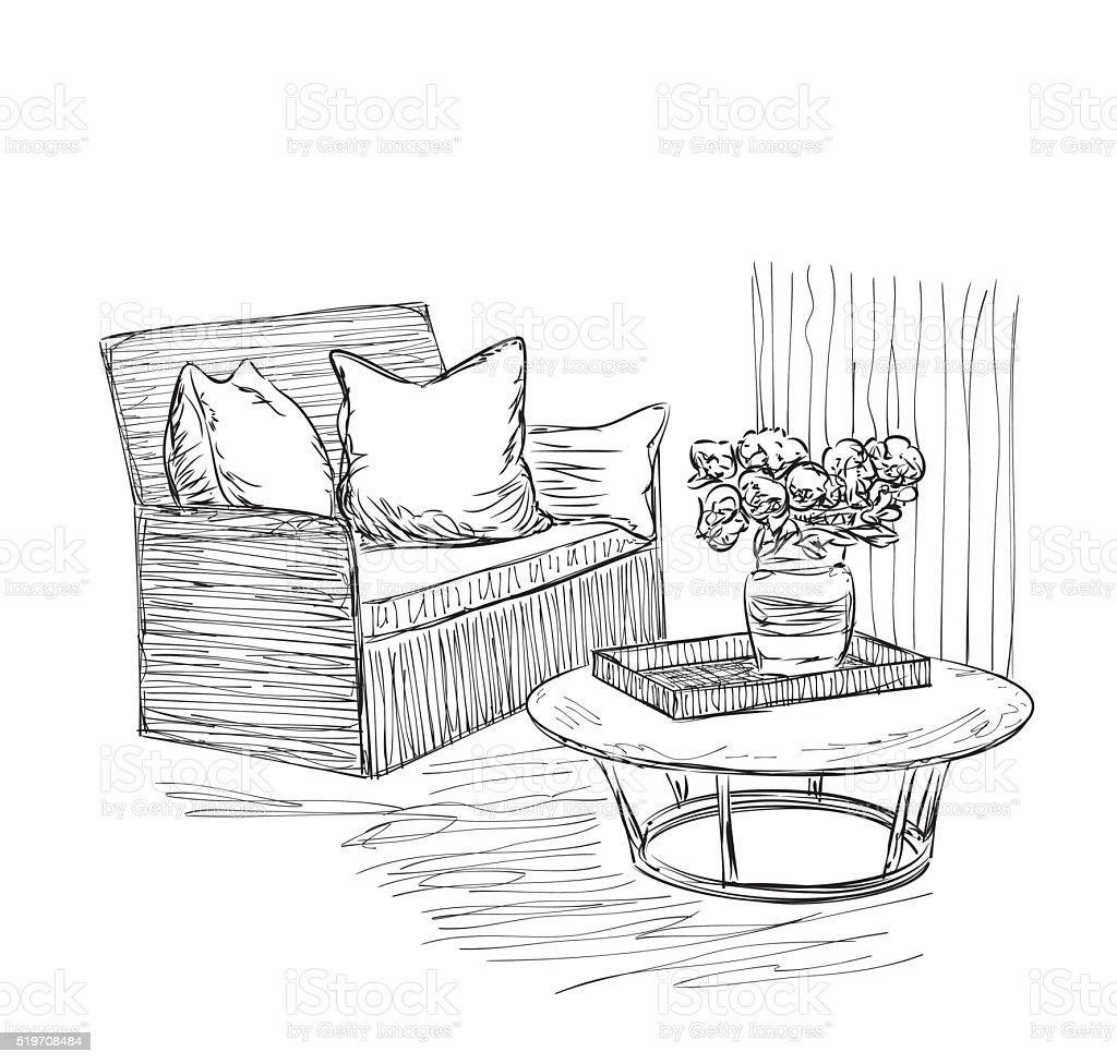 Zimmer Innenansicht Skizze Handgezeichnet Stuhl Und Tisch