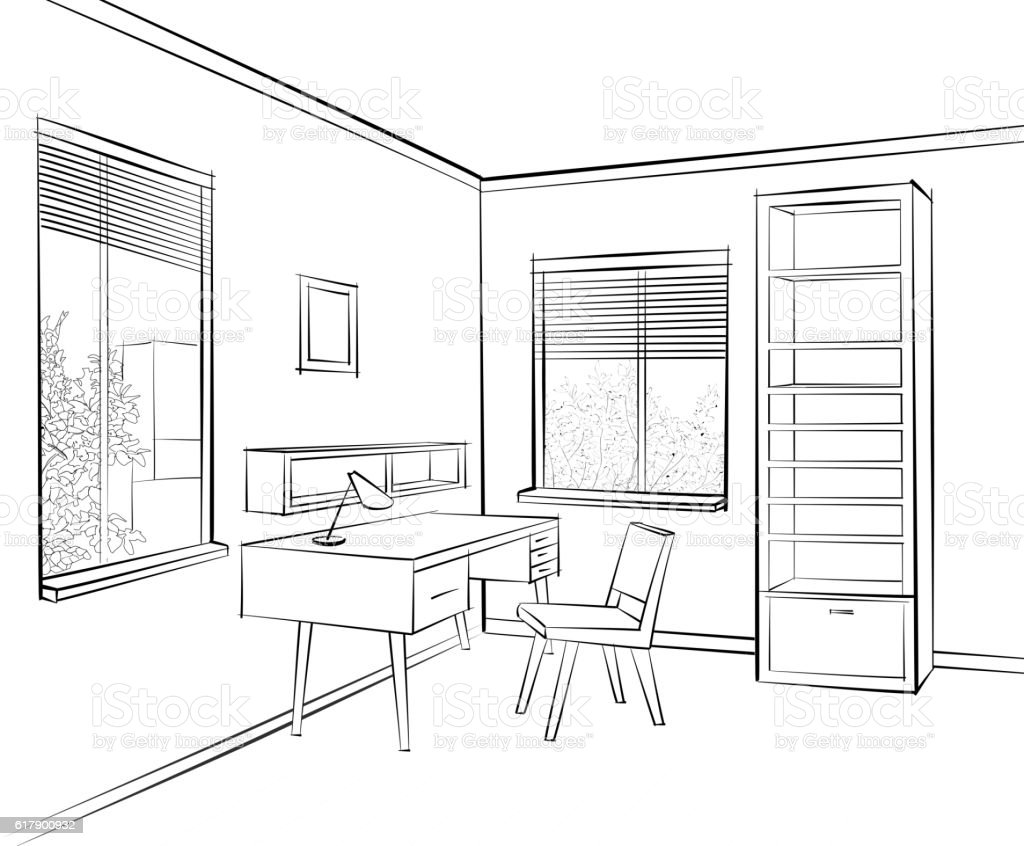 Room Interior Sketch. Workplace Home Office Furniture   Illustration .