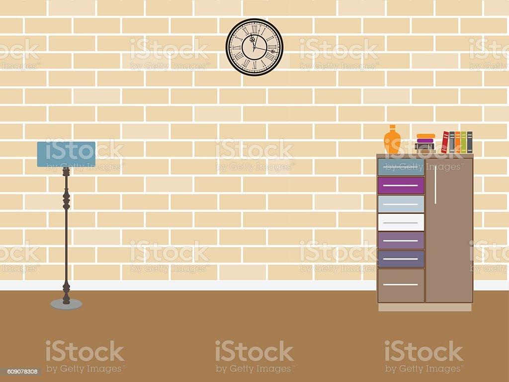 Nice Room Interior With Brick Wall Vector Illustration Royalty Free Room  Interior With Brick Wall Vector