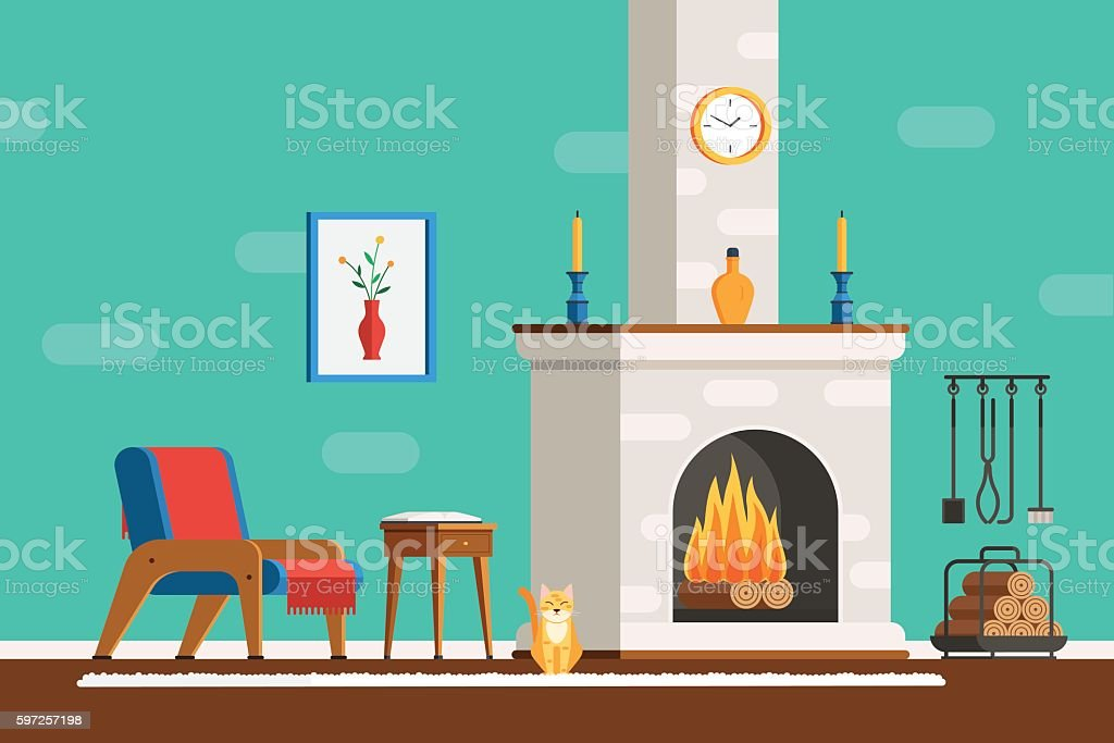 Room interior with fireplace vector art illustration