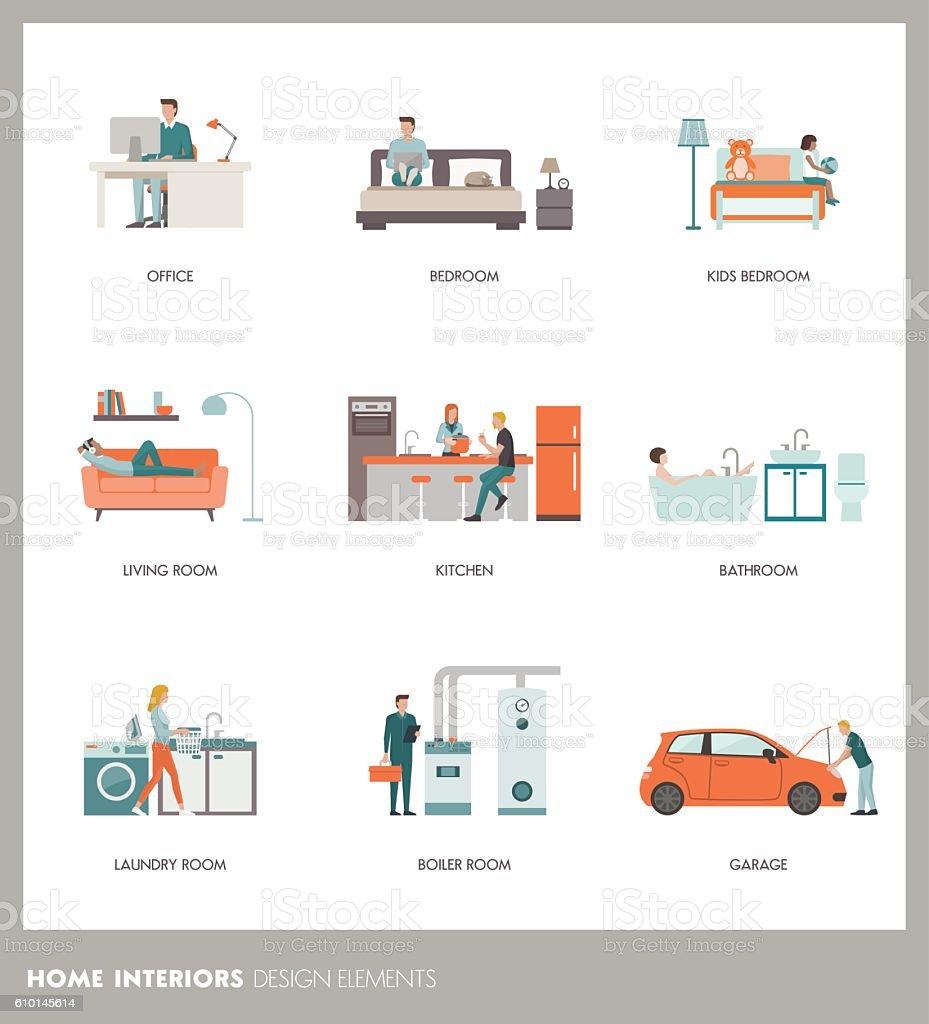 Room interiors – Vektorgrafik