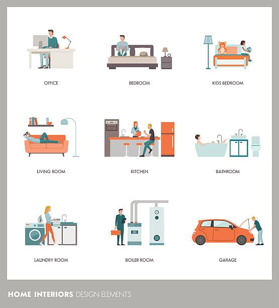 Room interiors - Illustration vectorielle