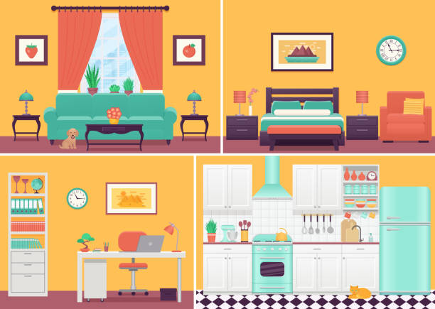 Room interiors. Vector illustration in flat design. Cartoon house. Room interiors. Vector. Living room, bedroom, kitchen, workplace with furniture in flat design. Cartoon house equipment sofa, bed, drawer, table, lamp, window. Cozy home, hotel. Set illustration. bedroom clipart stock illustrations