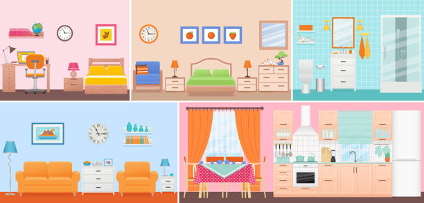 Room interiors. Vector illustration in flat design. Cartoon house. Room interiors. Vector. Living room, bedroom, bathroom, nursery, dining, kitchen in flat design. Home inside. Cartoon domestic apartment with window. House hotel equipment, furniture. Set illustration bedroom clipart stock illustrations