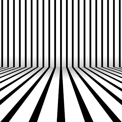 Room of wall and floor. Stripes with shadow.