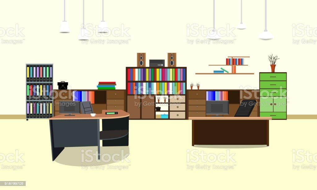 Zimmer Buro Arbeitsplatz Innendesign Mit Schrank Tisch Stuhl Buch Bucherregal Und Wand Vektorillustration Stock Vektor Art Und Mehr Bilder Von Akte Istock