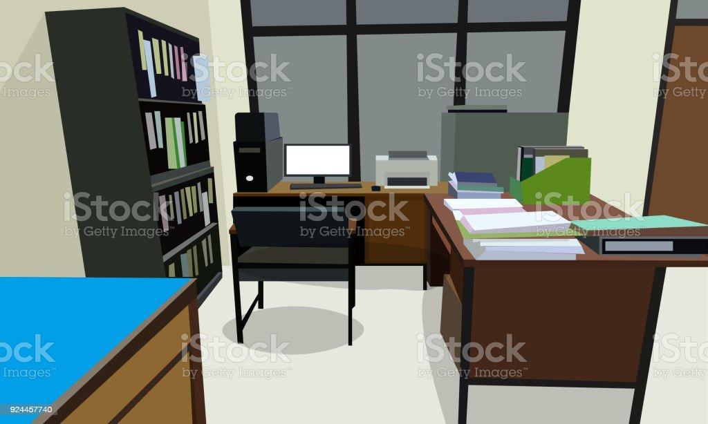 Chambre bureau au travail design intérieur avec armoire table