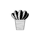 Room plant hand drawn vector outline doodle illustration. Decorative potted house plant isolated on white background.