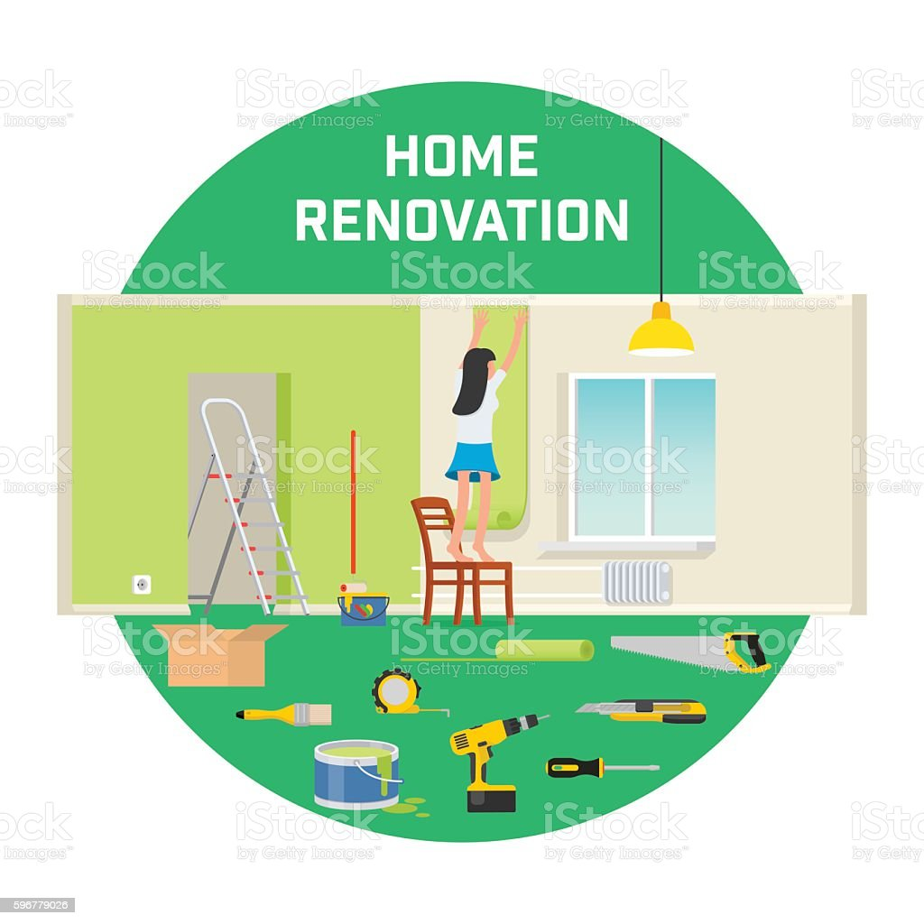 Room repair in home. Interior renovation in apartment and house vector art illustration