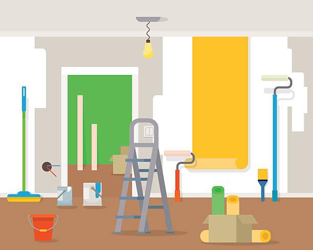 illustrations, cliparts, dessins animés et icônes de room repair in home. - nouveau foyer