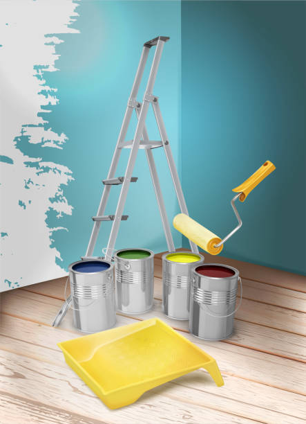Room repair. Paint cans, tray, paint roller and stepladder. Vector illustration. vector art illustration