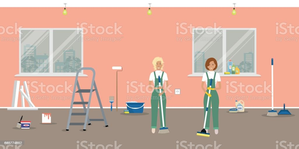Room repairing at home. Cleaning in the apartment after walls' painting royalty-free room repairing at home cleaning in the apartment after walls painting stock vector art & more images of adult