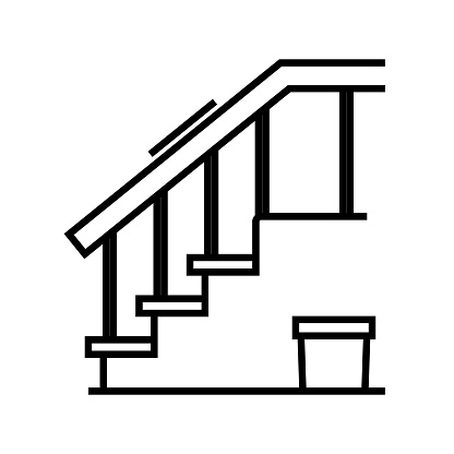 Room stairs line icon, concept sign, outline vector illustration, linear symbol