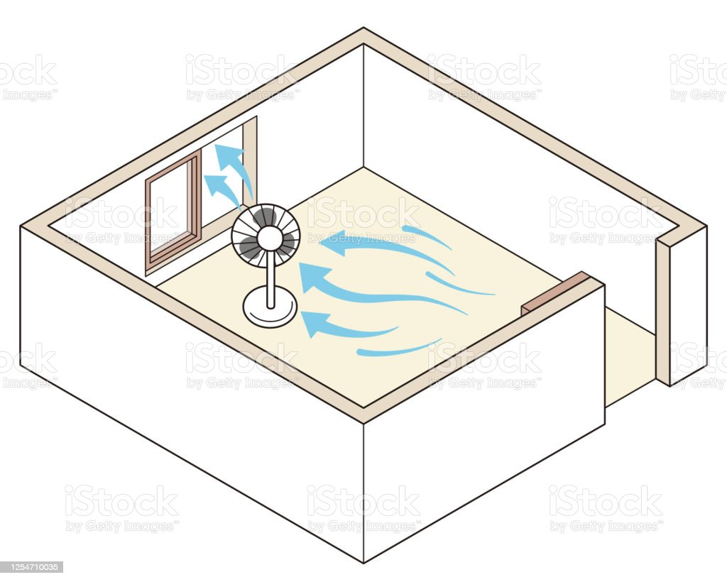 Room ventilation, a good example. If there is only one window, place a fan near the window to create a flow of wind or air. Room ventilation, a good example. If there is only one window, place a fan near the window to create a flow of wind or air. Air Duct stock vector