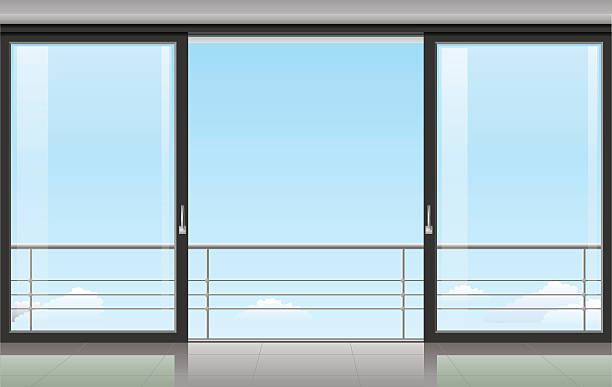 Room with a sliding door The wall at home or with a sliding door and overlooking the sky. Vector illustration porch stock illustrations
