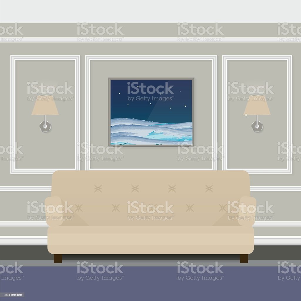 Room with beige sofa and wall lights in contemporary classics. vector art illustration